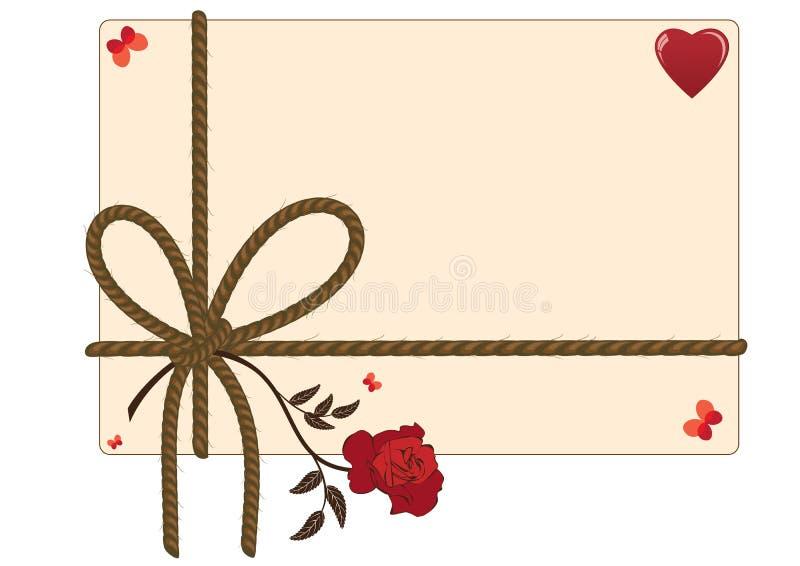 Walentynki tło z arkaną, sercem, motylami i czerwieni różą, ilustracja wektor