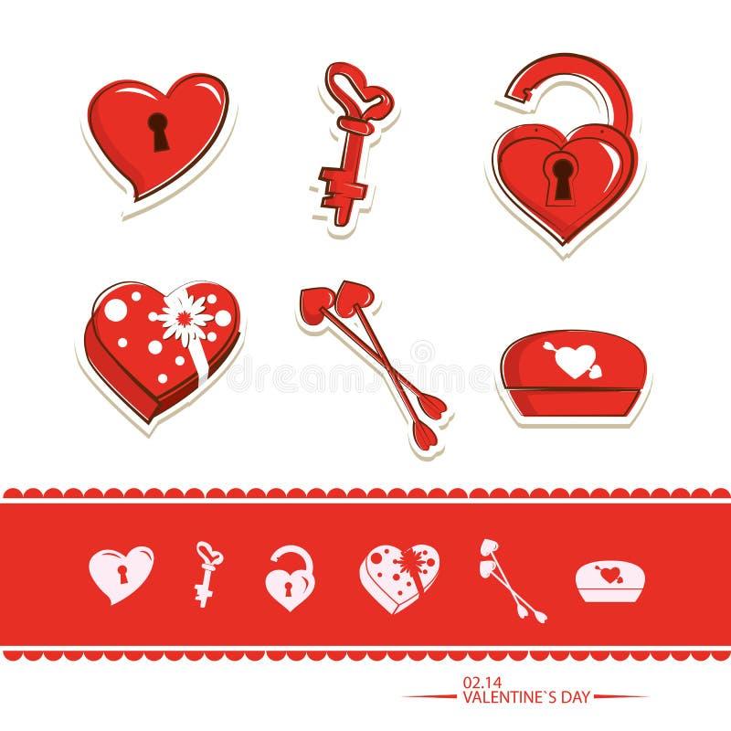 Walentynki ustalona ikona fotografia royalty free