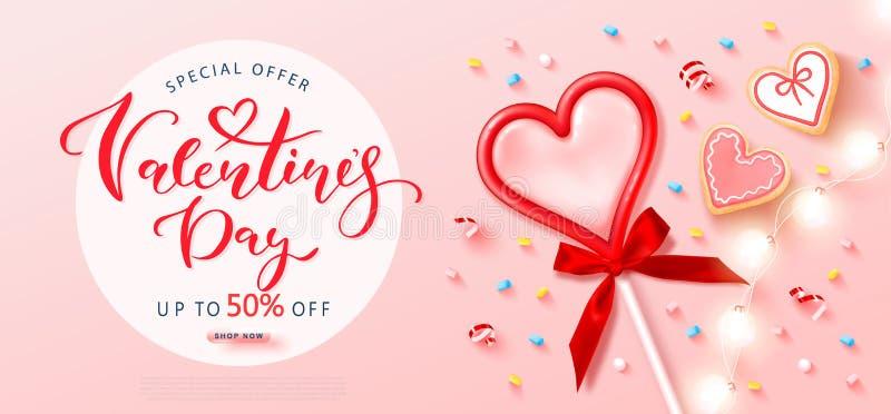 Walentynki w tle z Red heart lizak, ciasteczka, pianki, smugi i garland Nowoczesny projekt ilustracja wektor