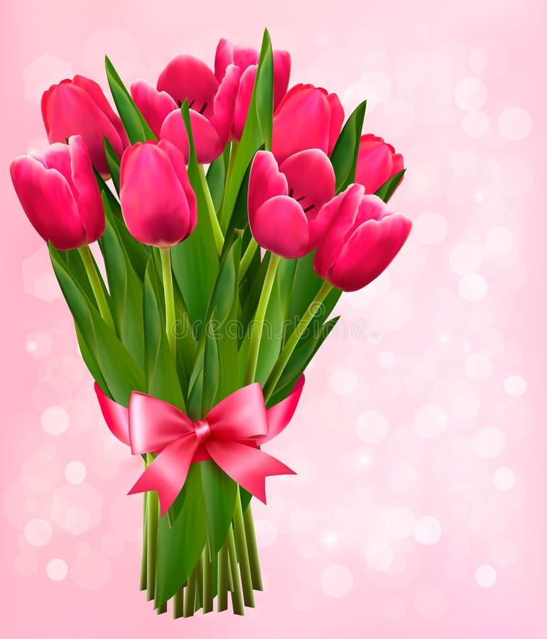 Walentynki wakacyjny tło z bukietem różowi kwiaty ilustracji