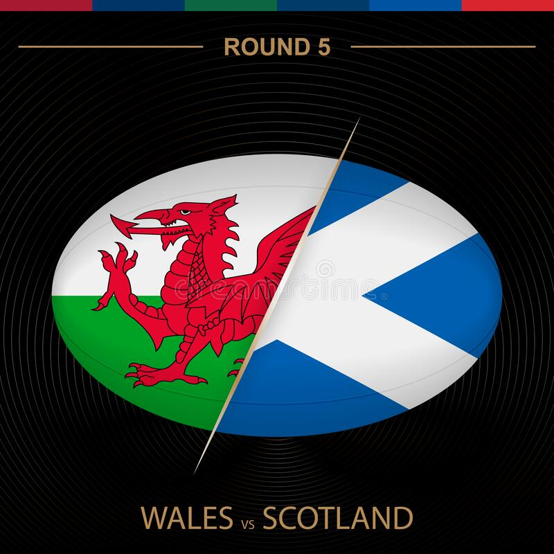 Wales contro Scotland nel Rugby Tournament Round 5, a forma di pallone icona a forma di rugby su fondo nero illustrazione vettoriale