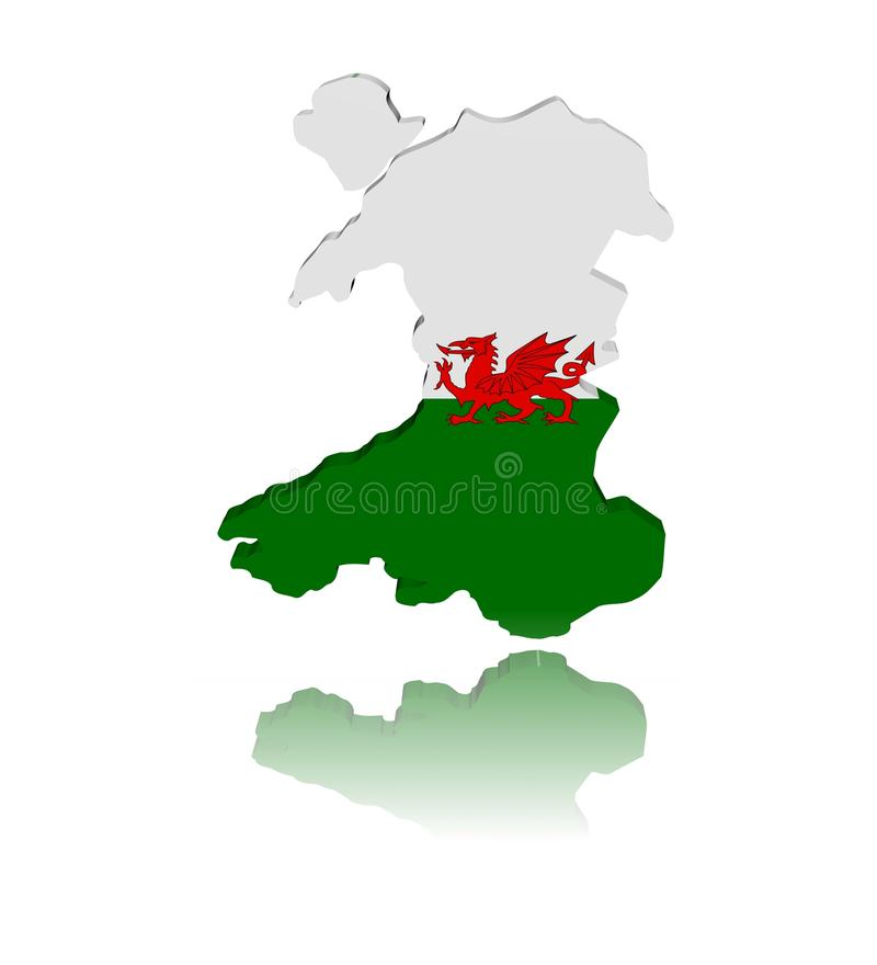 Wales Map Flag With Reflection Royalty Free Stock Image