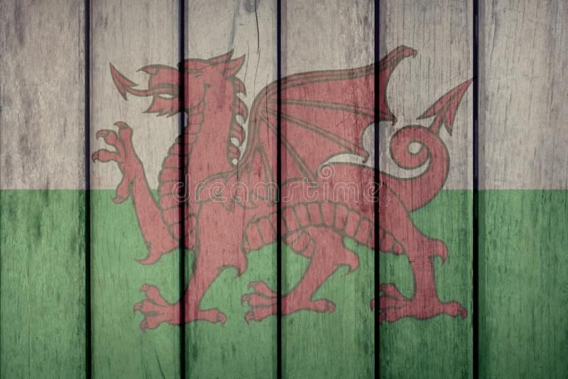 Wales Flag Wooden Fence. Wales Politics News Concept: Welsh Flag Wooden Fence royalty free illustration