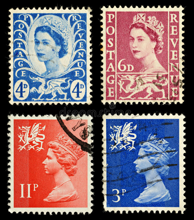 Wales Postage Stamps. Four Postage Stamps from Wales, Britain royalty free stock image