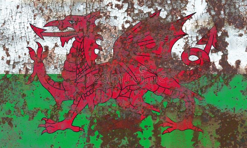 Wales-Schmutzflagge, Teil des Vereinigten Königreichs stockbilder