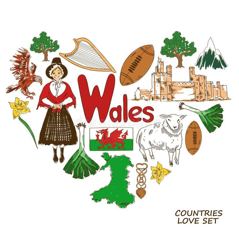Wales symboler i hjärtaformbegrepp vektor illustrationer