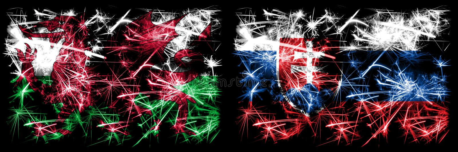 Wales, Welsh, Slovakia, Slovakian sparkling fireworks concept and idea flags royalty free illustration