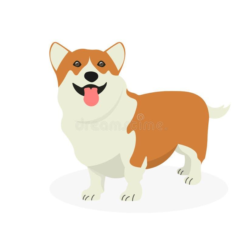 Walesisk Corgi för hund som isoleras på vit bakgrund vektor illustrationer