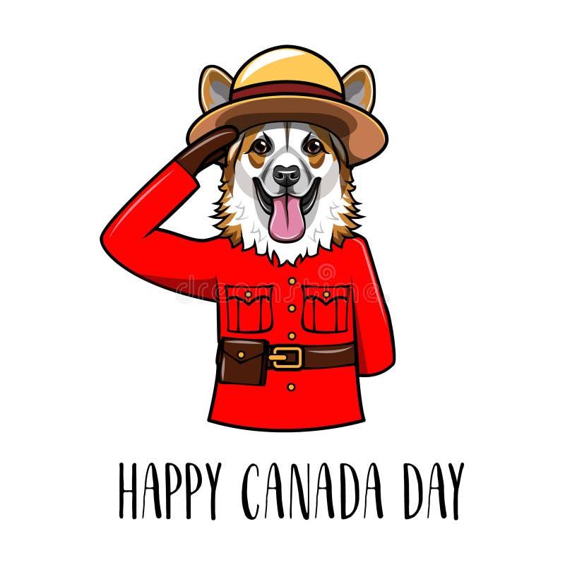 Walesisk Corgi lycklig Kanada dag Kunglig kanadensare monterad polisform greeting lyckligt nytt år för 2007 kort vektor vektor illustrationer