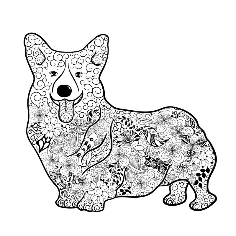 Walesiskt Corgihundklotter royaltyfri illustrationer
