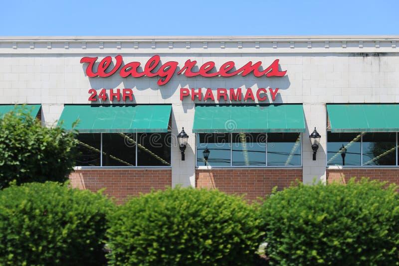 Walgreens商店外部和标志 库存图片