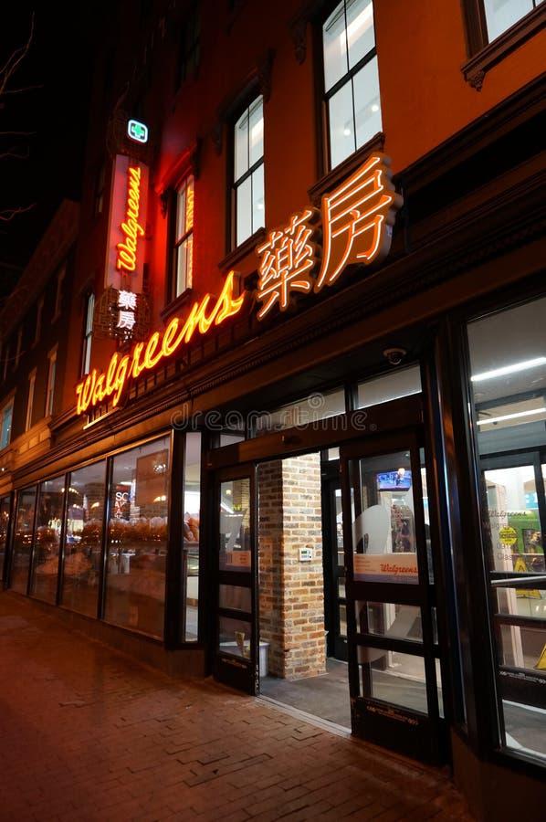 Walgreens in Chinatown at Night in Washington DC royalty free stock photo