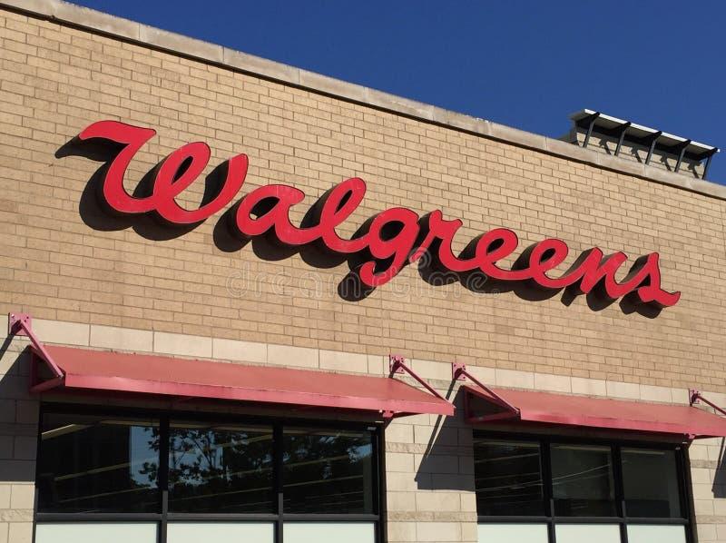 Walgreens-Drugstore-Logo auf Speicher in Chicago lizenzfreies stockbild