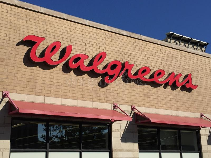 Walgreens Drugstore Logo on Store in Chicago royalty free stock image