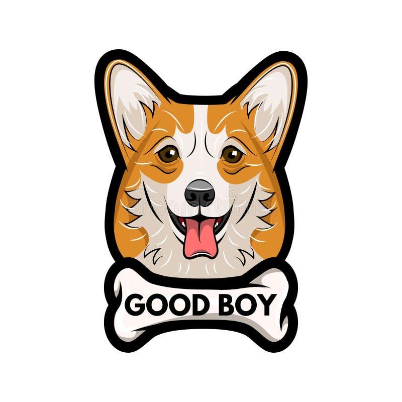 Walijski corgi pies z kością Dobra chłopiec inskrypcja chłopiec kreskówka zawodzący ilustracyjny mały wektor ilustracji