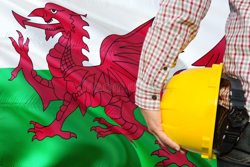 Walijski inżynier trzyma żółtego zbawczego hełm z machać Walia chorągwianego tło Budowy i budynku poj?cie obraz royalty free