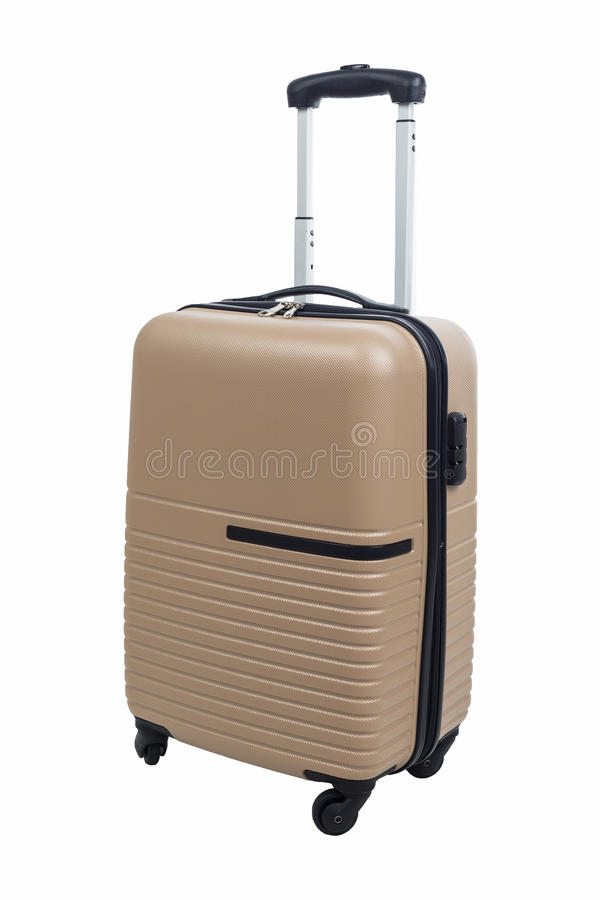 Walizka bagażu brąz odizolowywający na białym tle zdjęcie stock