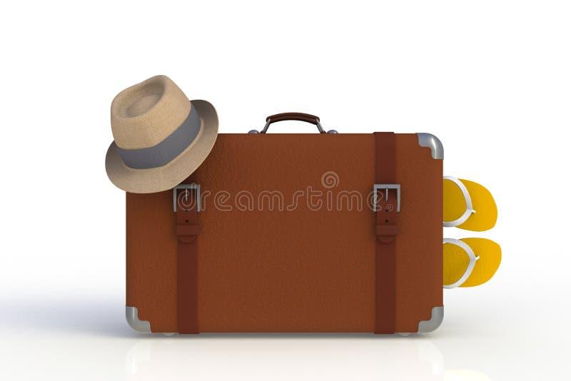 Walizka podróżnik z słomianym kapeluszem i trzepnięcie klapy odizolowywać na białym tle ilustracja wektor