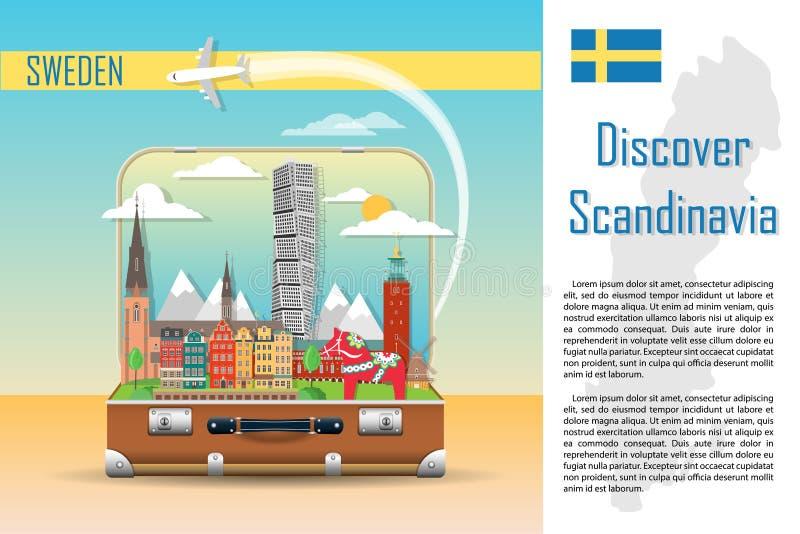 Walizka z punktami zwrotnymi Szwecja royalty ilustracja