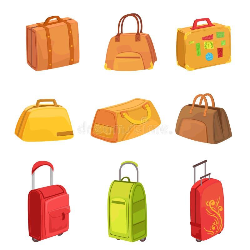 Walizki I Inne bagaż torby Ustawiający ikony royalty ilustracja