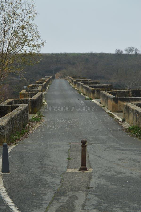 Walk Above The Roman Bridge On The Ebro River On Its Pass By San Vicente De La Sonsierra. Architecture, Art, History, Travel. stock image