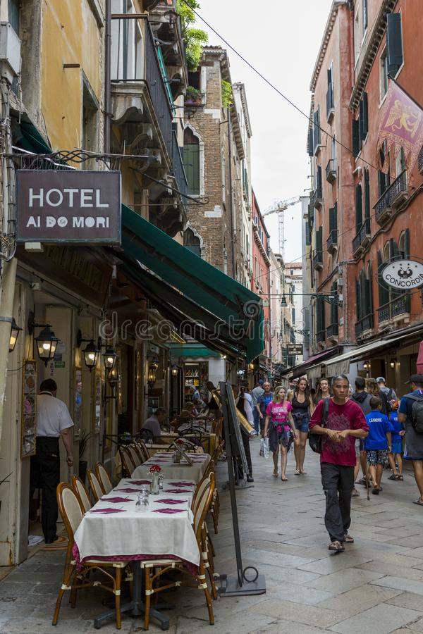 Walk along the streets and canals of Venice stock photo