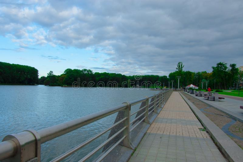 Walk along the waterfront stock photography