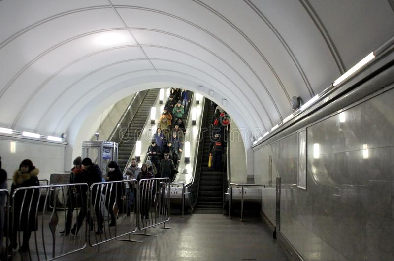 In the Moscow metro. Walk around Moscow in the days of the celebration of Christmas and New Year. Views of Moscow from attractions to suburbs. January 8, 2019 royalty free stock image