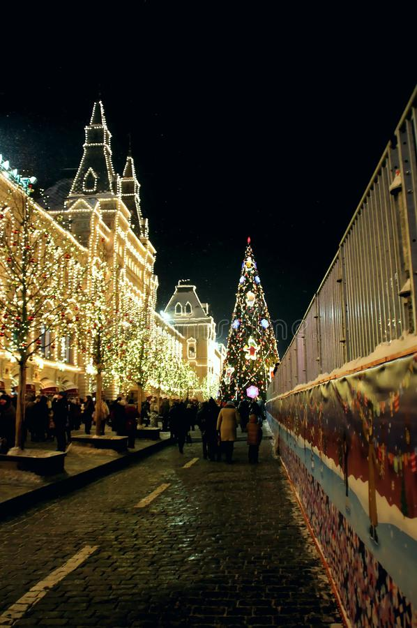Shop GUM decorated with a Christmas installation. Walk around Moscow in the days of the celebration of Christmas and New Year. Views of Moscow from attractions royalty free stock photos