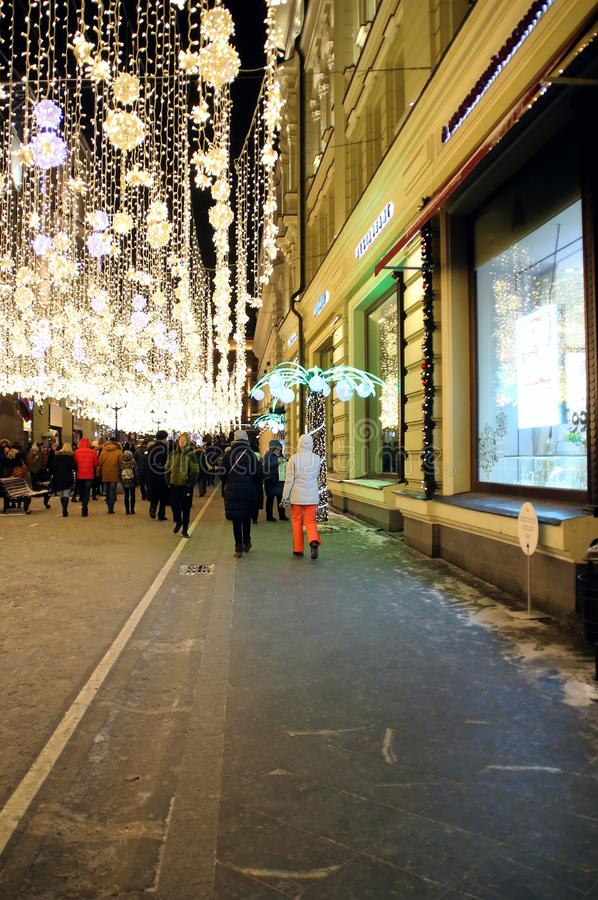 Christmas and New Year illumination in Moscow. Walk around Moscow in the days of the celebration of Christmas and New Year. Views of Moscow from attractions to royalty free stock image