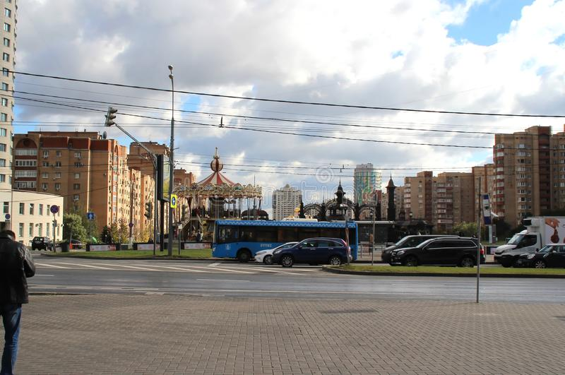 Large avenue in one of the districts of Moscow. Walk around Moscow. Views of Moscow from attractions to suburbs. October 2018 stock image