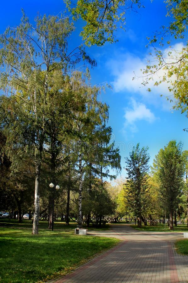 Moscow Boulevard in the middle of autumn. Walk around Moscow. Views of Moscow from attractions to suburbs. October 2018 stock photo