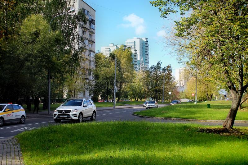 Sleeping area of Moscow. Walk around Moscow. Views of Moscow from attractions to suburbs. October 2018 stock photos