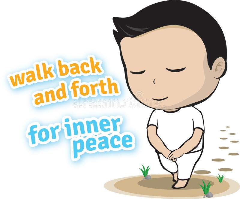 Walk back and forth for inner peace. Is the easy way to make meditation vector illustration