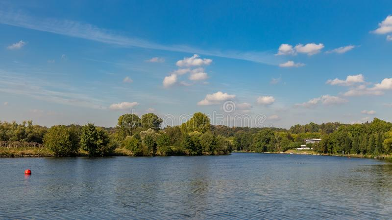 The banks of the River Ruhr near Muelheim, Germany. A walk on the banks of the River Ruhr near Muelheim, Ruhr Area, North Rhine-Westphalia, Germany stock photography