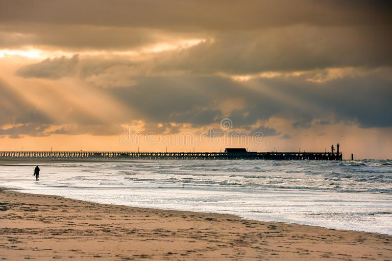 Walk on the beach to the palace pier at Blankberg royalty free stock photography