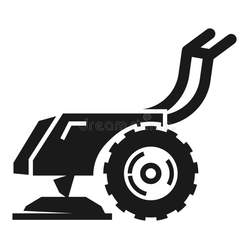 Walk-behind tractor icon, simple style stock illustration