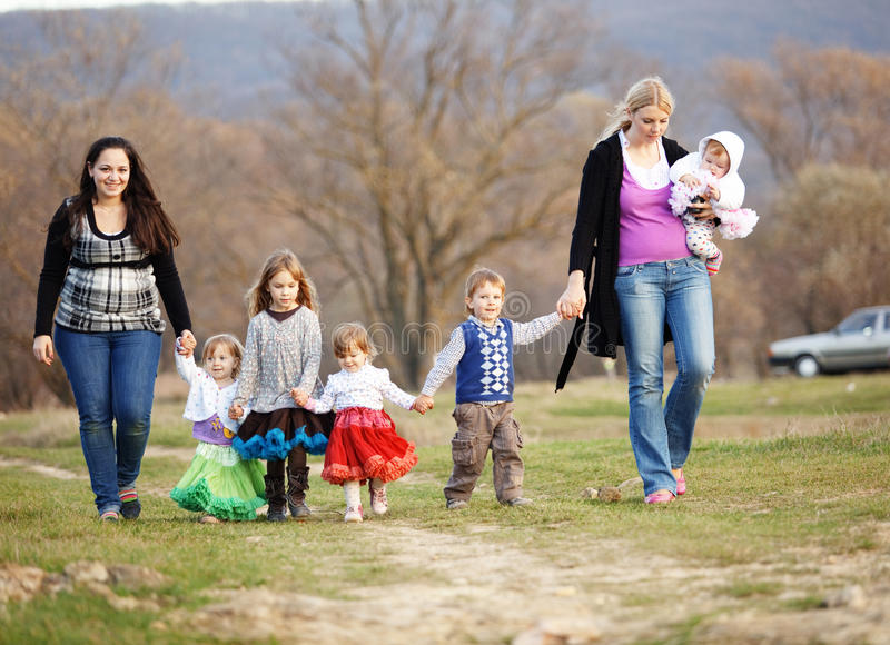 Download Walk with children stock image. Image of friends, clothing - 21154461