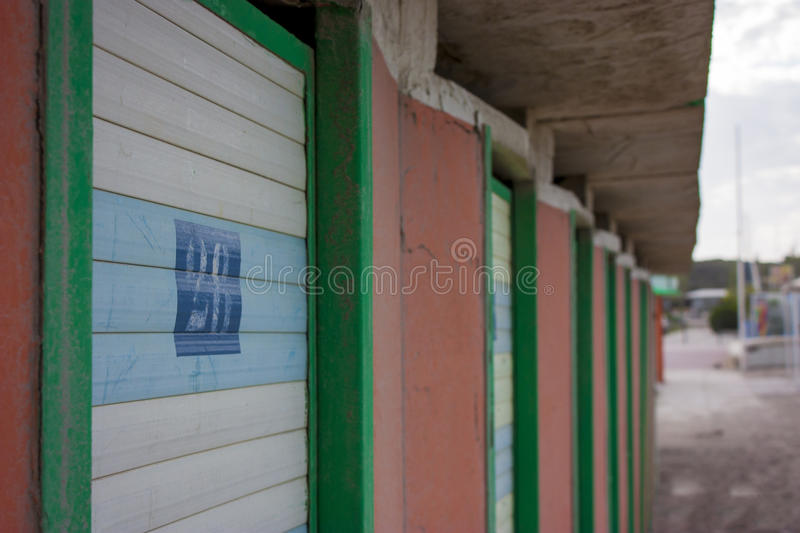 Walk-in closet of a beach during winter. Walk-in closet of a beach in the off season and apparently abandoned unused din royalty free stock image