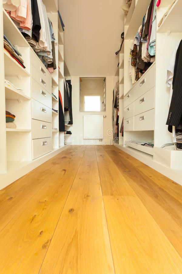 Walk-in closet in modern house stock photography