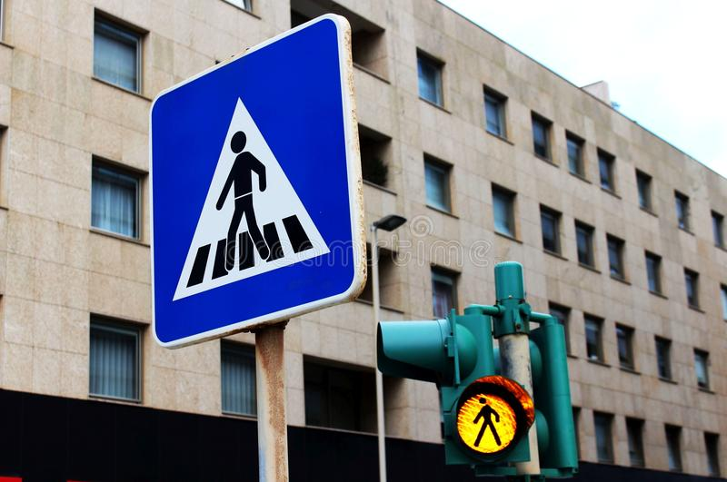 Walk Don`t Run. Two traffic signs for passersby royalty free stock photos