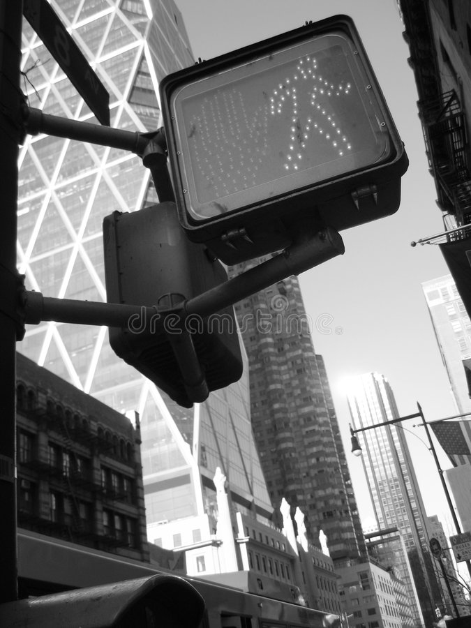Walk_Don't Walk Sign, nyc. Walk sign, nyc in gray royalty free stock photography