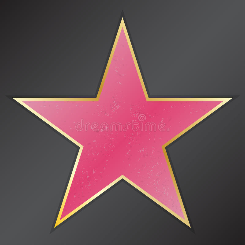 Walk of fame star with emblems symbolize five categories. Hollywood, famous sidewalk, boulevard actor. Vector illustration vector illustration