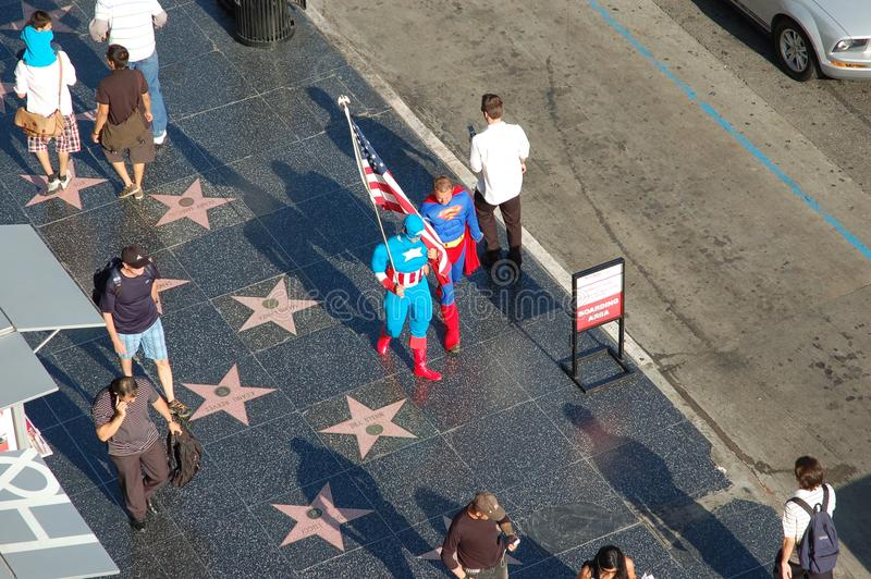 Walk Of Fame: Superman and Captain America royalty free stock image