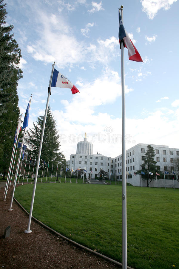 Walk of the Flags. Near Oregon's Capitol Building in Salem, USA stock photos