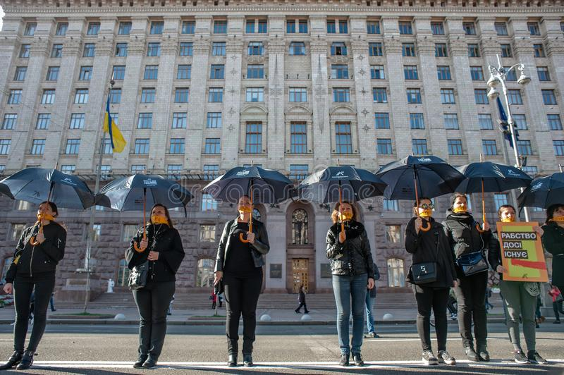 Walk for Freedom annual international event. October 16, 2017. Kyiv, Ukraine. Walk for Freedom annual international event. About a hundred people passed along stock image