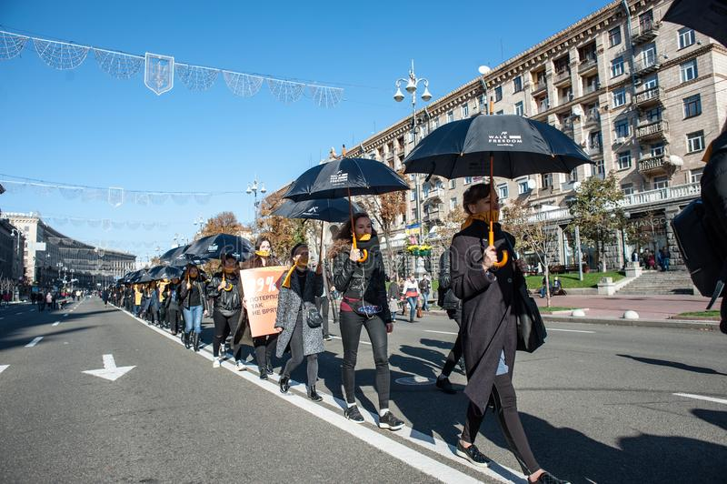 Walk for Freedom annual international event. October 16, 2017. Kyiv, Ukraine. Walk for Freedom annual international event. About a hundred people passed along royalty free stock photography