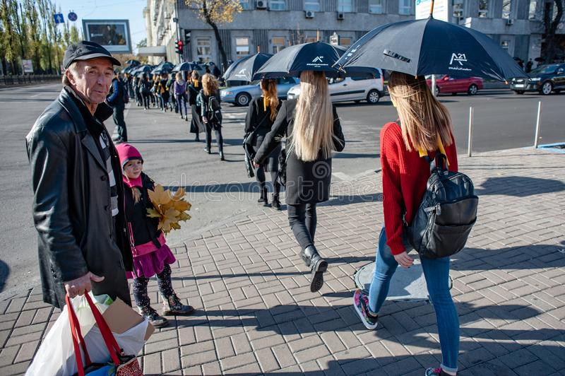 Walk for Freedom annual international event. October 16, 2017. Kyiv, Ukraine. Walk for Freedom annual international event. About a hundred people passed along royalty free stock image