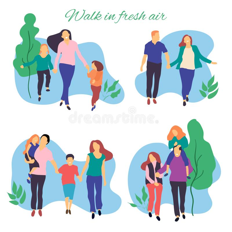 Walk in fresh air. Vector stylized illustration of active young family. Healthy lifestyle.People in the park vector flat illustrat. Ion. People in the park stock illustration