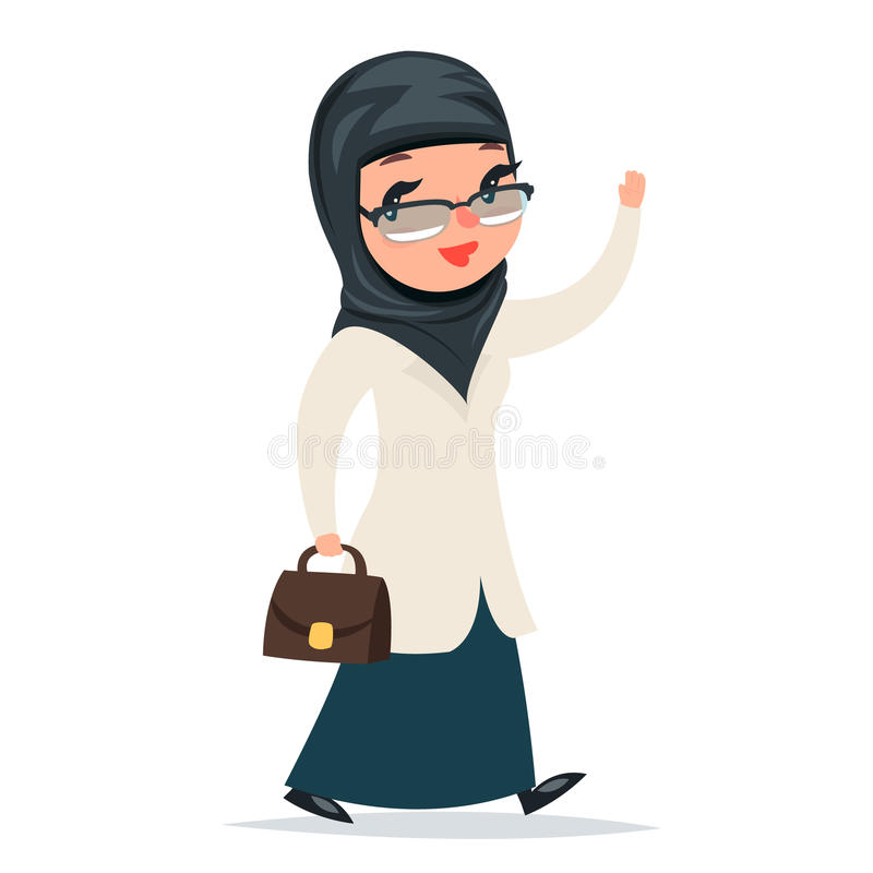 Walk Home Treatment Female Girl Cute Arab Doctor with Case Greets Hand Character Isolated Icon Medic Retro Cartoon vector illustration